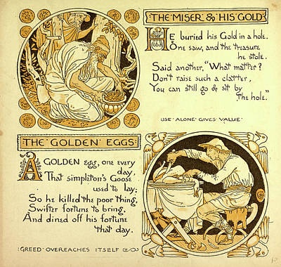 The Miser And His Gold The Golden Eggs Art Print
