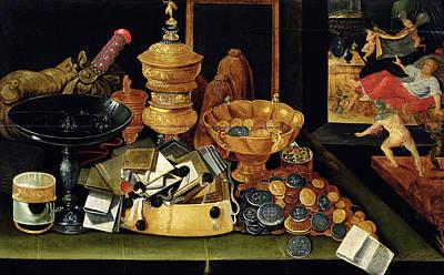 The Misers Treasure Oil On Panel Art Print by Flemish School