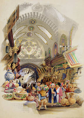 Stall Drawing - The Missr Tcharsky, Or Egyptian Market by A. Margaretta Burr