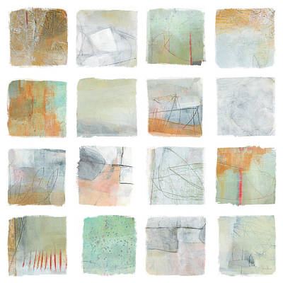 Grid Painting - The Misty Fields by Jane Davies