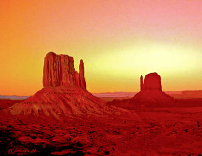 The View Mixed Media - The Mittens Monument Valley by Bob and Nadine Johnston
