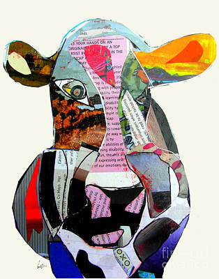 Cow Mixed Media - The Mod Cow by Bri B