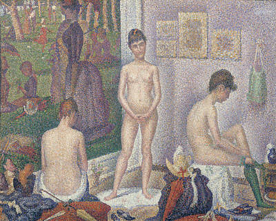 Jatte Painting - The Models by Georges Pierre Seurat