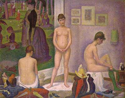 Pointilist Painting - The Models by Georges Seurat