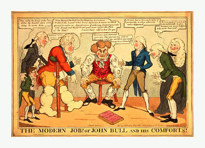 Crutch Drawing - The Modern Job Or John Bull And His Comforts by English School