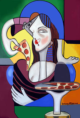 The Mona Pizza Art Print by Anthony Falbo
