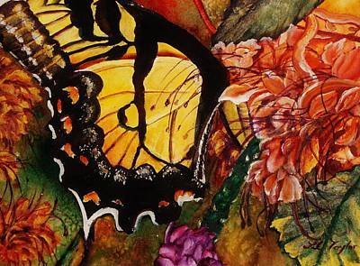 Orange And Black Butterfly Painting - The Swallowtail And The Pagoda by Lil Taylor