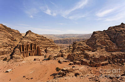 The Monastery And Landscape At Petra In Jordan Art Print by Robert Preston