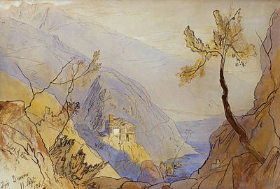 Nineteenth Century Painting - The Monastery Of St Dionysius Mount Athos by Edward Lear