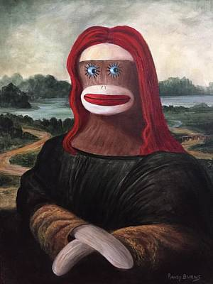 Art Print featuring the painting The Monkey Lisa by Randol Burns