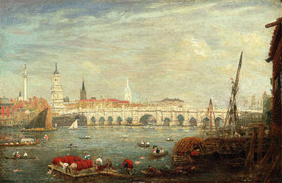 The Monument And London Bridge, London Frederick Nash Art Print by Litz Collection
