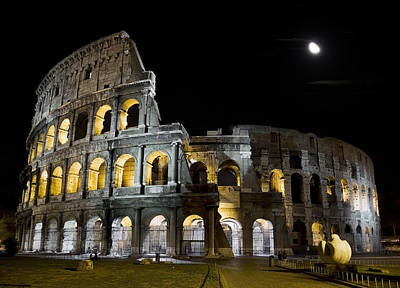 Photograph - The Moon Above The Colosseum No1 by Weston Westmoreland