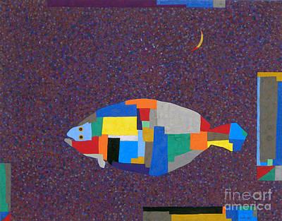Flounder Painting - The Moon And Fish by Sang Hyun Chung