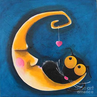 Stressie Cat Painting - The Moon And Me by Lucia Stewart