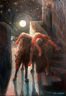 Painting - The Moon And The Good Samaritain by Daniel Bonnell
