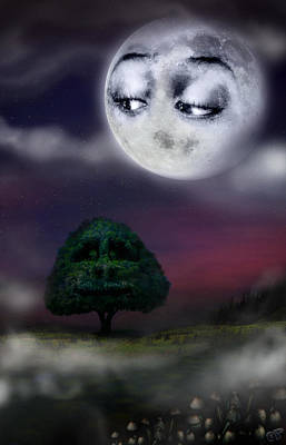 Mistery Digital Art - The Moon And The Tree by Alessandro Della Pietra