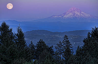 The Moon Beside Mt. Hood Art Print by Don Schwartz