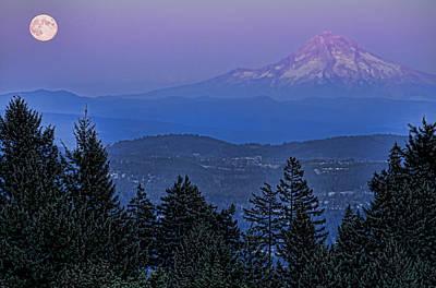 The Moon Beside Mt. Hood Art Print