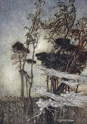 ..the Moon, Like To A Silver Bow Print by Arthur Rackham