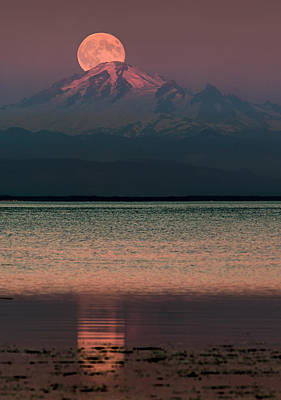 The Moon Over Mount Baker Print by Alexis Birkill