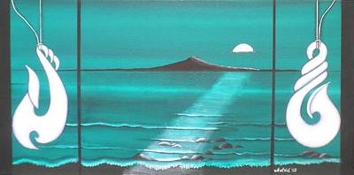 Aotearoa Painting - The Moon Over Rangitoto by Astrid Rosemergy