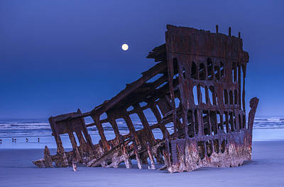 The Moon Sets Over The Wreck Art Print by Robert L. Potts