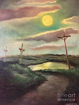 Art Print featuring the painting The Moon With Three Crosses by Randol Burns