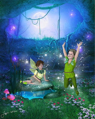 Art Print featuring the digital art The Moonlight Fairies by Jayne Wilson