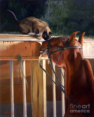 Animals Paintings - The Morning Buzz by Jeanne Newton Schoborg