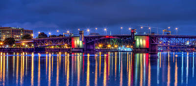 Photograph - Morrison Bridge Reflections Portland by Thom Zehrfeld