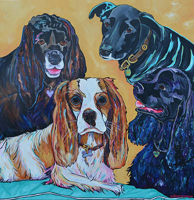 Cocker Spaniel Painting - The Moseley Gang by Patti Schermerhorn
