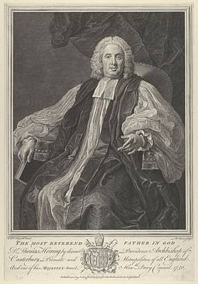 Herring Drawing - The Most Reverend Thomas Herring by After William Hogarth