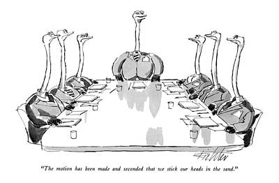 Ostrich Drawing - The Motion Has Been Made And Seconded That by Mischa Richter