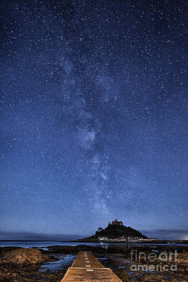 Cornish Wall Art - Photograph - The Mount And The Milkyway by John Farnan
