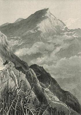 Maine Roads Drawing - The Mount Washington Road And White Mountains 1872 Engraving by Antique Engravings
