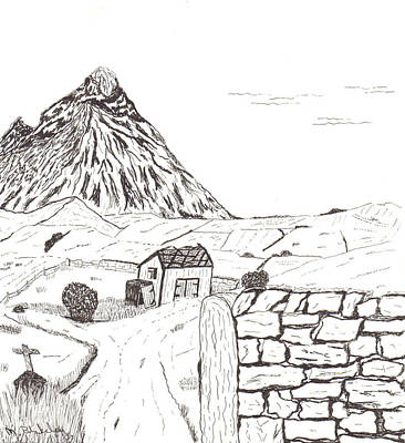 Drawing - The Mountain Beyond The Fields by Martin Blakeley