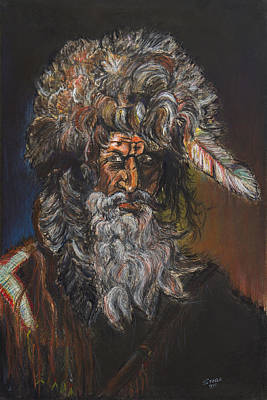 Steele Drawing - The Mountain Man by Chris Steele