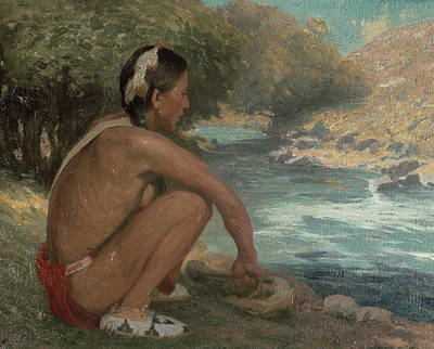 Contemplative Painting - The Mountain Stream, C.1914 by Eanger Irving Couse