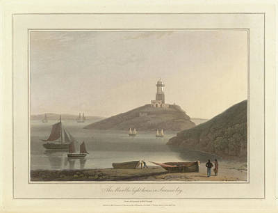 The Mumbles Lighthouse In Swansea Bay Print by British Library