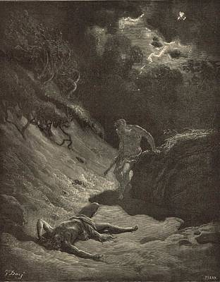 Yahweh Drawing - The Murder Of Abel by Antique Engravings