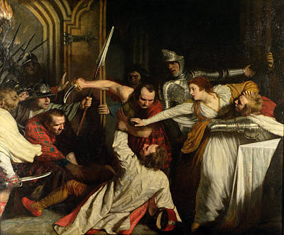 The Murder Of Rizzio, 1787 Oil On Canvas Print by John Opie