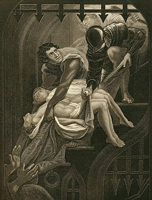 London Drawing - The Murder Of The Two Princes by James Northcote