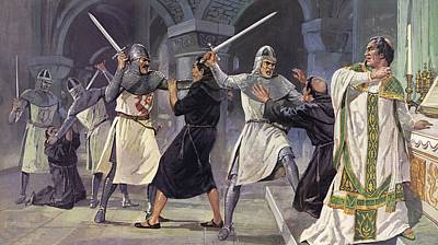 The Murder Of Thomas A Becket Colour Litho Art Print by Mike White