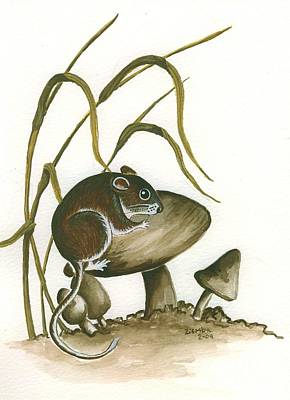 Mice Painting - The Mushroom Mouse by Lori Ziemba