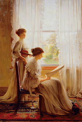 Violin Painting - The Music Lesson, C.1890 by American School