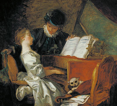 Lute Photograph - The Music Lesson Oil On Canvas by Jean-Honore Fragonard