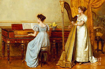Room Interiors Painting - The Music Room by George Goodwin Kilburne