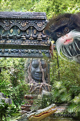 Photograph - The Mustached Emperor Of The Deep Jungles The Emperor Tamarins  by Jim Fitzpatrick