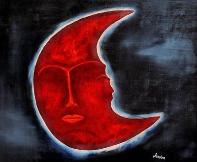 Surreal Art Painting - The Mysterious Moon - Original Oil Painting by Marianna Mills
