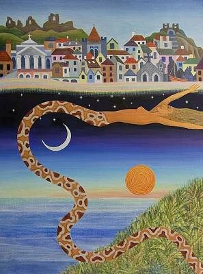 Boa Constrictor Painting - The Mysterious Process Of Coming To Town by Jennifer Baird